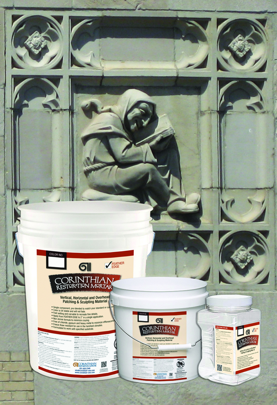 CORINTHIAN RESTORATION MORTAR is a single component, Portland Cement based, polymer modified material designed to restore and rehabilitate vertical and overhead stone surfaces and profiles without the need for costly form work. <b>Go to Site</b>